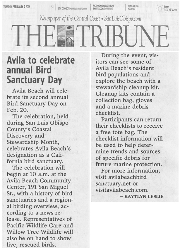 San Luis Obispo Tribune New, February 9, 2016