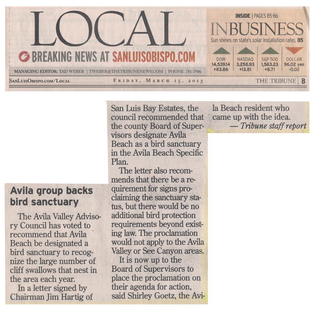 San Luis Obispo Tribune, March 15, 2013 - Avila Group Backs Bird Sanctuary